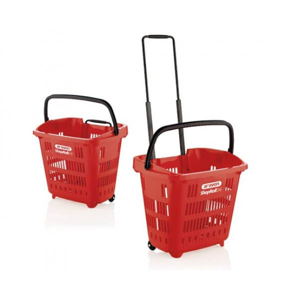 34 liter plastic shopping basket - red - with black handles Shopping carts / Baskets