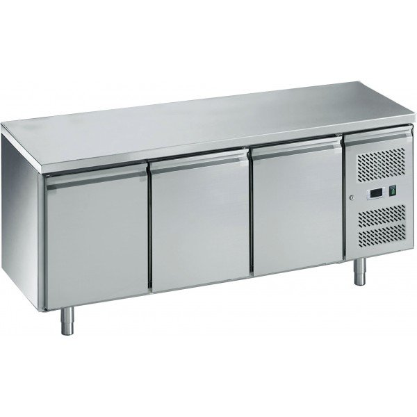 3-door chilled work table with side aggregate Refrigerated bench / table