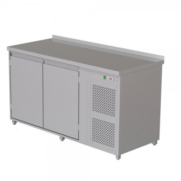 Heated radiator table - 2 doors Refrigerated bench / table