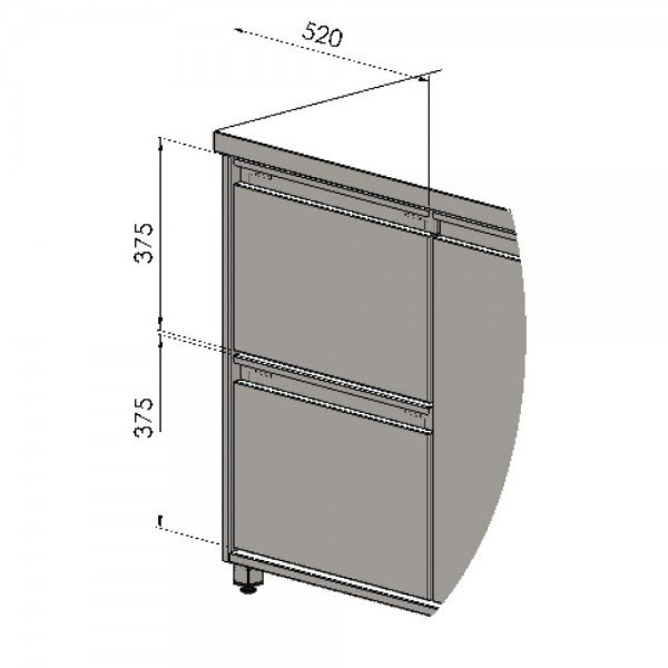 A symmetric drawer for a drink cooler Refrigerated bench / table