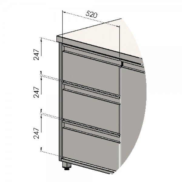 Simetrical drawer for drink cooler table - 3 as Refrigerated bench / table