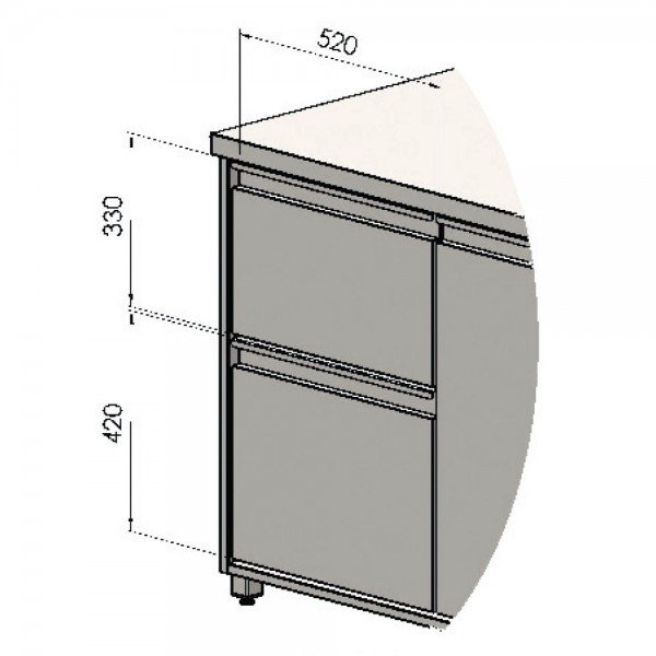 Asymmetric drawer for drink cooler worktable Refrigerated bench / table