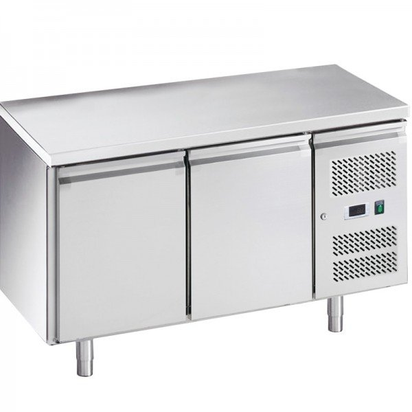2-door chilled work table with side aggregate Refrigerated bench / table