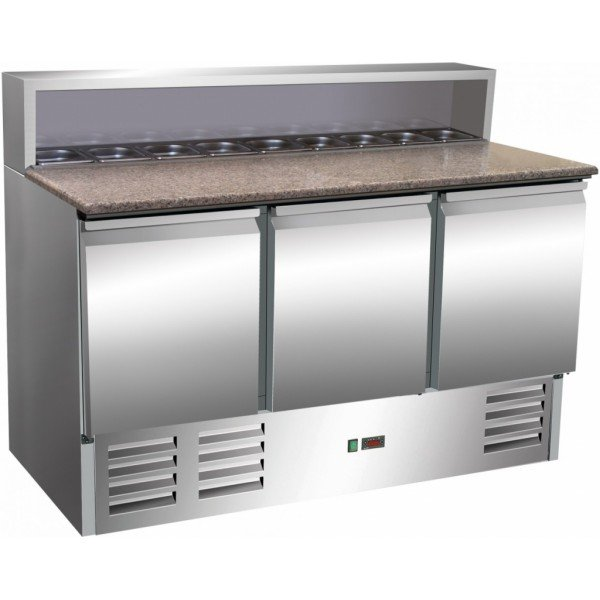 Pizza pre-cooled desktop 402L, three doors full of 8xGN1 / 6 conditional fridge Refrigerated bench / table