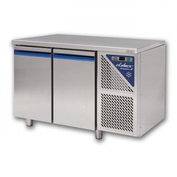 Dalmec 2-door chilled work table with side aggregate Refrigerated bench / table