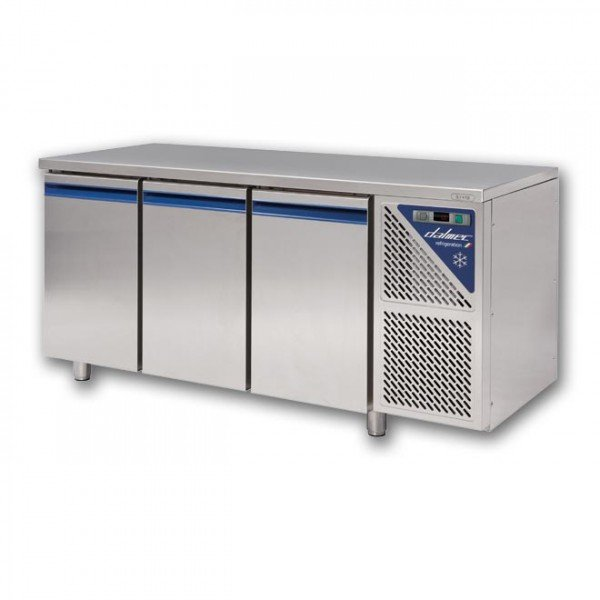 Dalmec 3-door chilled work table with side aggregate Refrigerated bench / table
