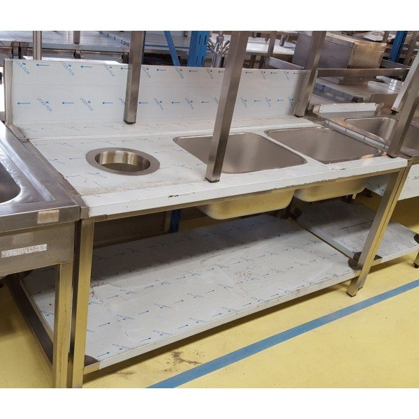 Stop plate stainless steel table with 2 pools moslékolós Under counter dishtables
