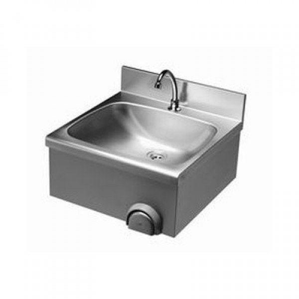 Wall sink knee-switch and blanket cover, a raised rear wall fanfare Wall mount handwash sink
