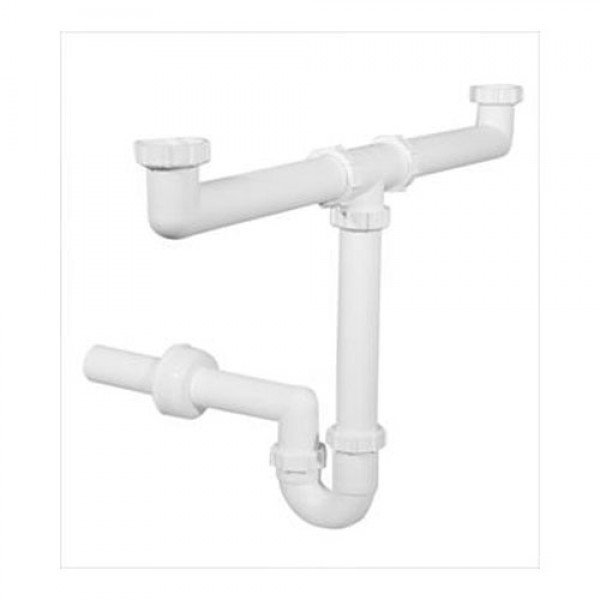 Plastic pipe sump for two-sink sink Other
