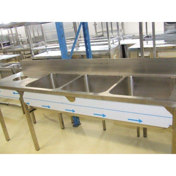 3-basin stainless steel sink + waste ejector  Sinks