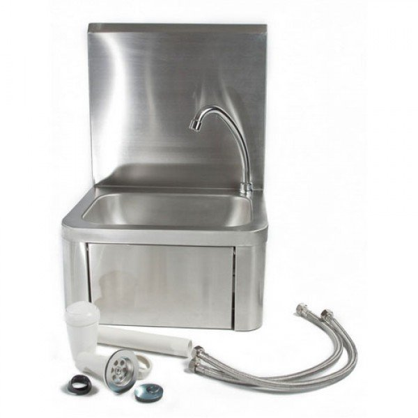 Wall sink knee-switch and outlet, raised backplane, Wall mount handwash sink