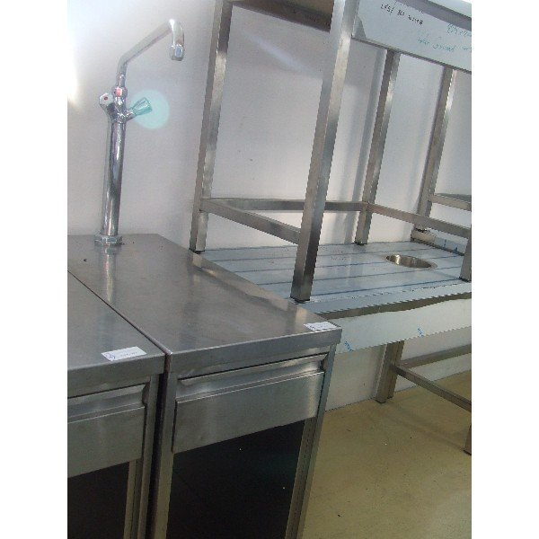 Stainless steel table with drawer, tap  Stainless steel tables