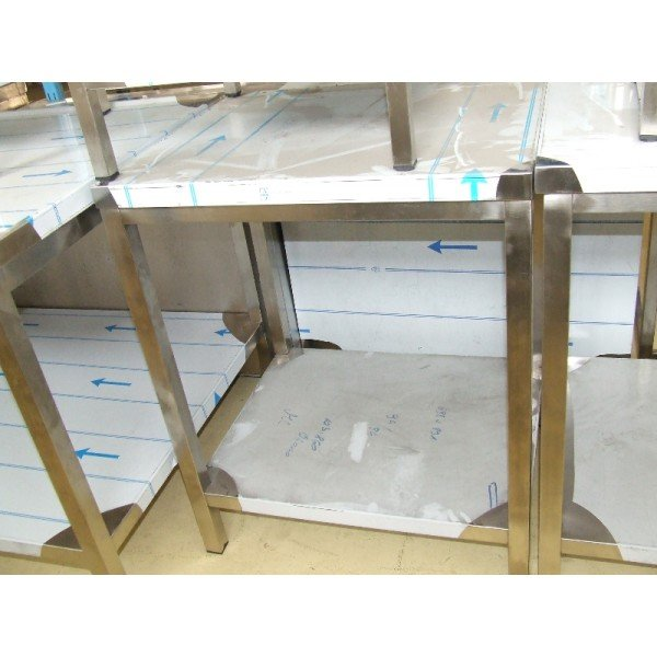 Stainless steel tables, shelves, rear fanfare  Stainless steel tables