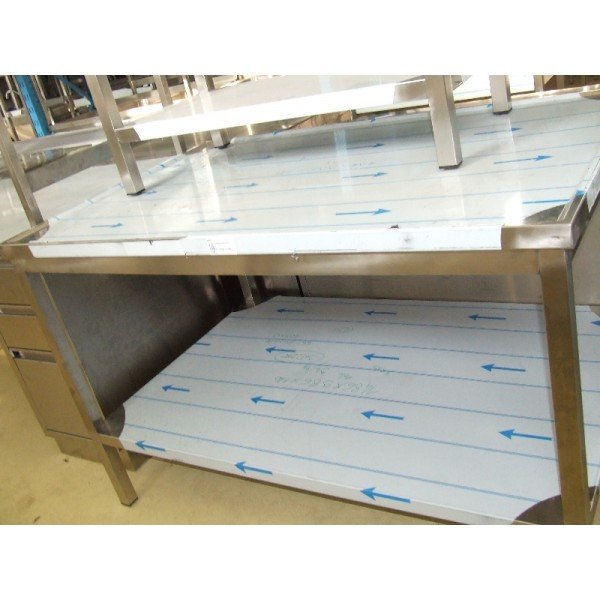 Stainless steel tables, shelves, recessed flange  Stainless steel tables