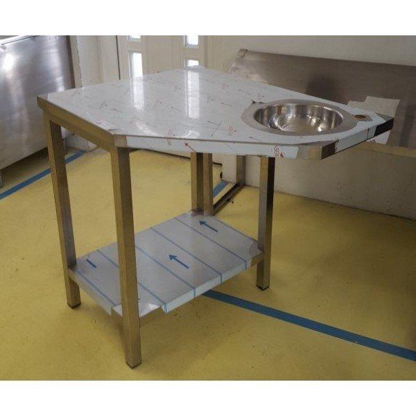 Corner kézmosós table, bottom shelf Stainless steel tables