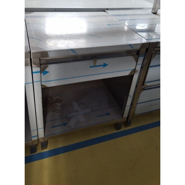 Stainless neutral desk drawers 65x70 cm Stainless steel tables