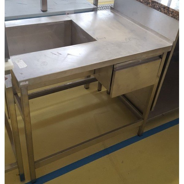 Table 1 drawer and cut, 95x70 cm Stainless steel tables