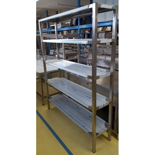 5-bay rack stainless 150x40x200 cm Stainless steel shelves