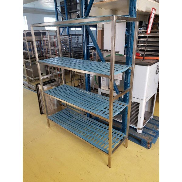 Plastic flat stainless steel 4 shelves - 145x50x182 cm Shelving systems