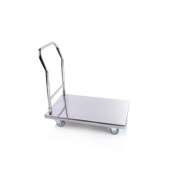 Stainless Steel Flatbed Trolley, Freight Vehicle - 55x87x90 cm Trolley