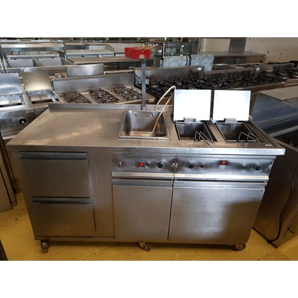 Mobile - 2x15 liter fryer / fryer + 1xGN1 / 1 heater Deep fryer / Fryer