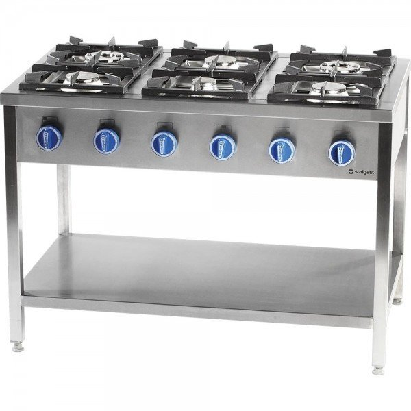 Stalgast 6 burner gas cooker with oven - 700 series Cookers